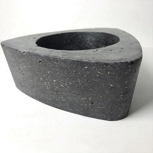 black concrete rounded edge triangle plant pot