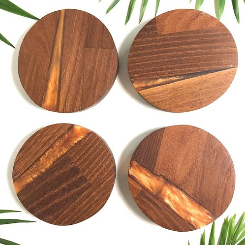 BRASS RESIN AND ACACIA WOOD COASTERS