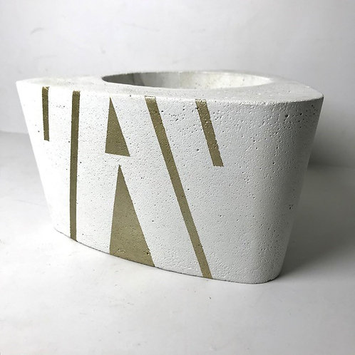 large white concrete rounded edge triangle plant pot