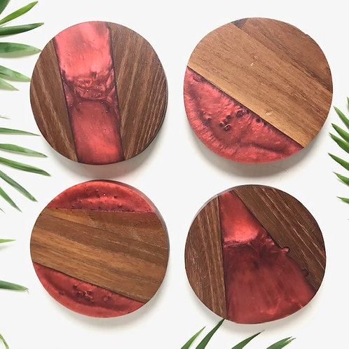 RED RESIN AND ACACIA WOOD