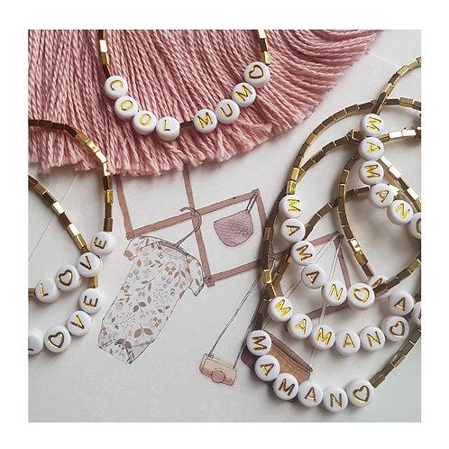Bracelet hématite lettres dorées