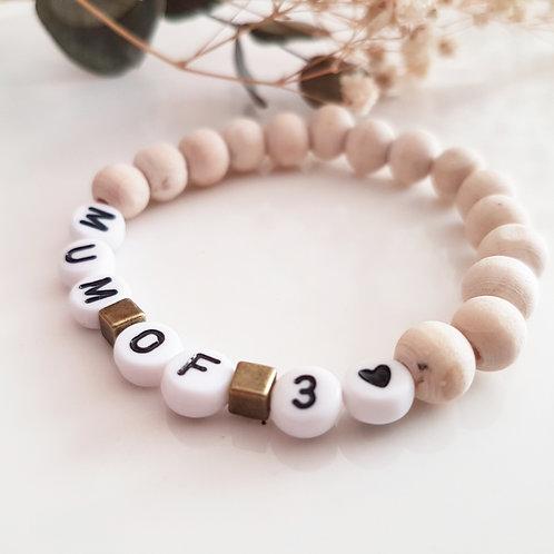 Bracelet perles bois MUM OF ..