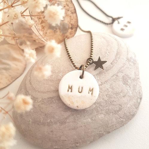 """Sautoir """"Mum"""" chaîne bronze"""