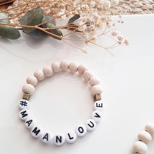 Bracelet perles bois Hashtag #mamanlouve