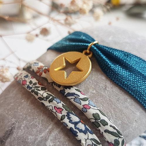 Bracelet élastique médaille étoile dorée