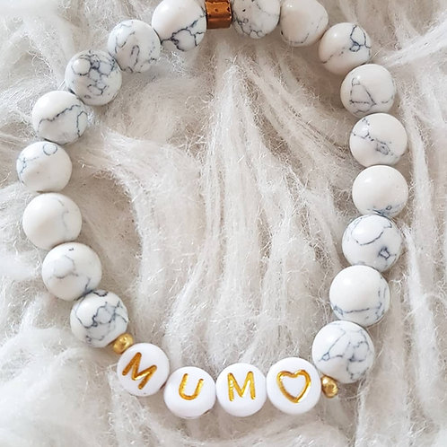Bracelet élastique perles pierre marbrée