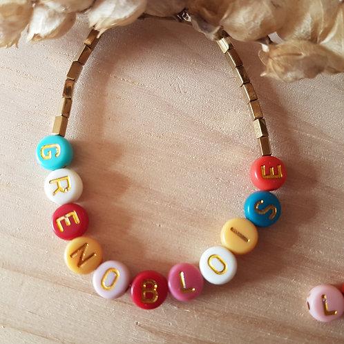 Bracelet à personnaliser, lettres couleurs