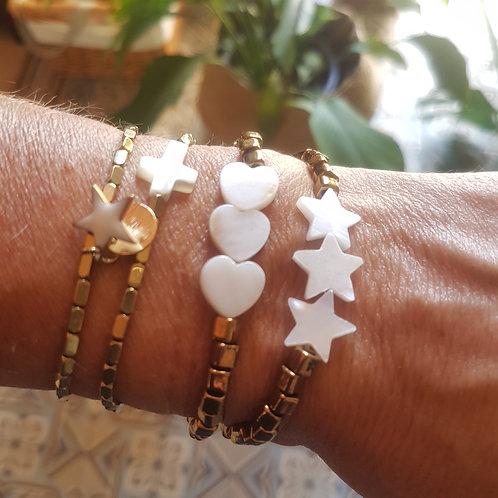 Bracelet élastique coeurs ou étoiles