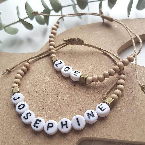 Bracelet cordon et perles bois à personnaliser