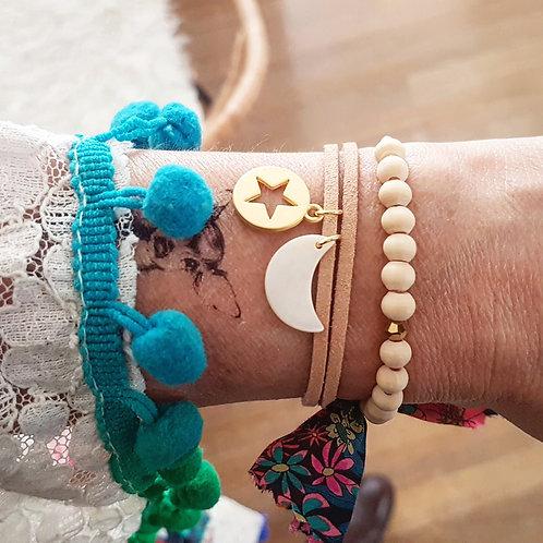 Bracelet suédine étoile dorée