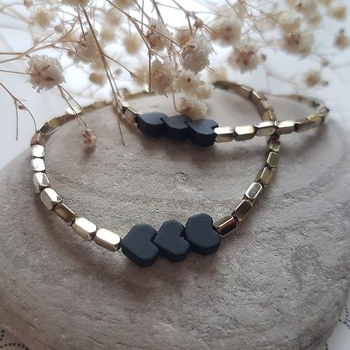 Bracelet hématite coeurs noirs