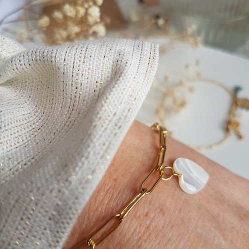 Bracelet  chaîne trombone Coeur