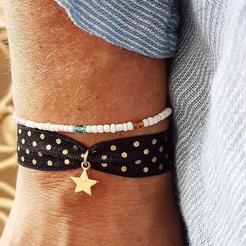 Bracelet élastique dots étoile dorée