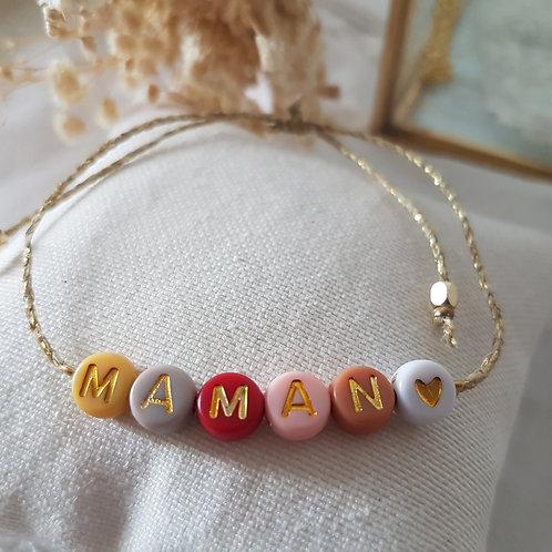 Bracelet lettres couleurs à personnaliser