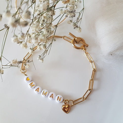 Bracelet  chaîne trombone Maman
