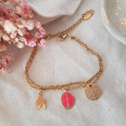 Bracelet  double rang vierge rose fluo