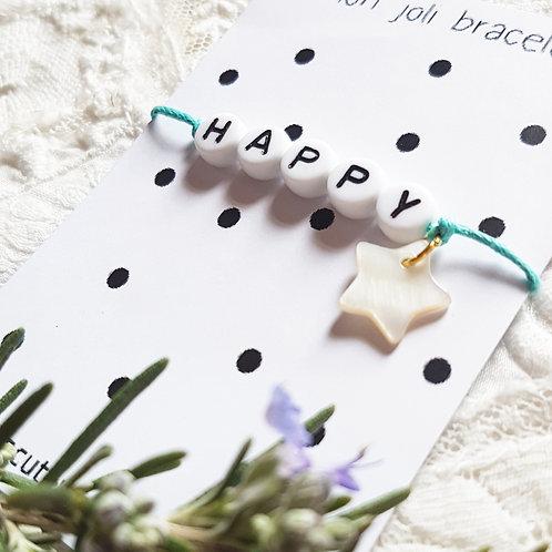 Bracelet lettres HAPPY