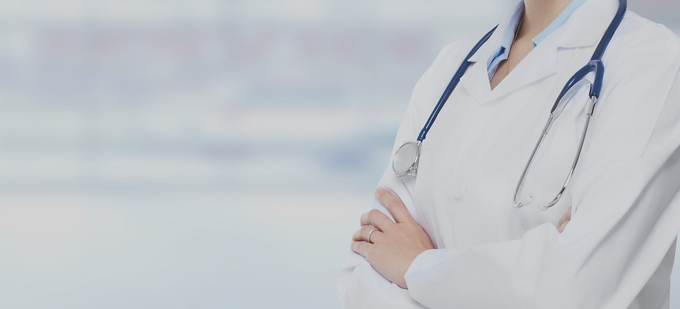 Person in lab coat with a stethoscope around their neck edited