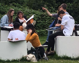 Students sketching in the Serpentine 2015