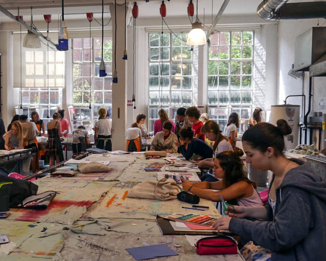 Students in London College of Fashion studio 2015