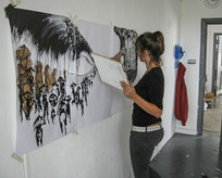 Student painting in Wimbledon College of Arts studio 2005