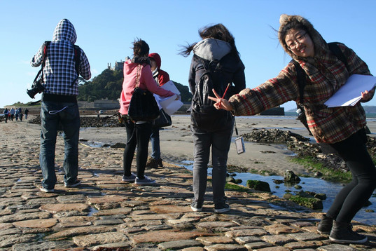 Students at St Michaels Mount, Cornwall