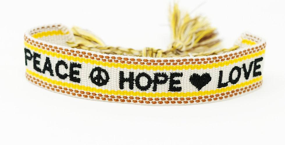 Stoff-Armband - PEACE HOPE LOVE