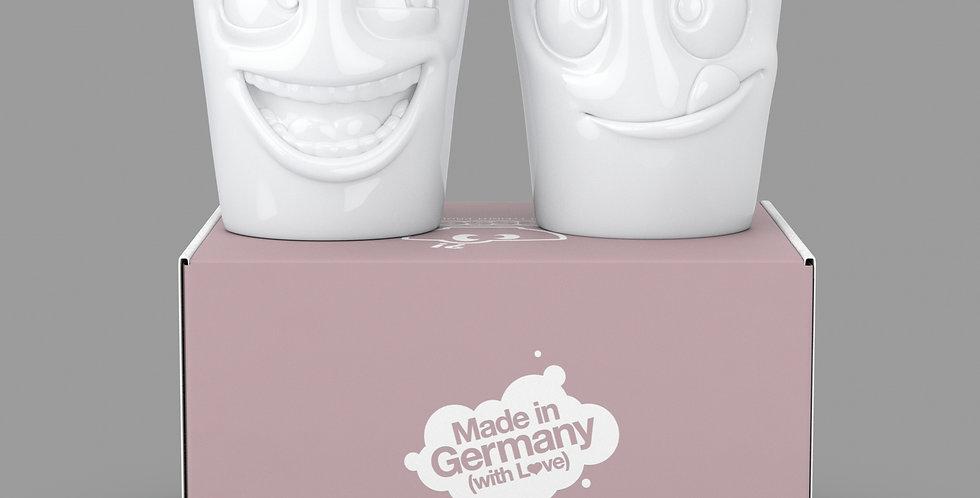 """Becher Set Nr. 3 """"Witzig & Lecker"""" ohne Henkel in weiß, 350 ml"""