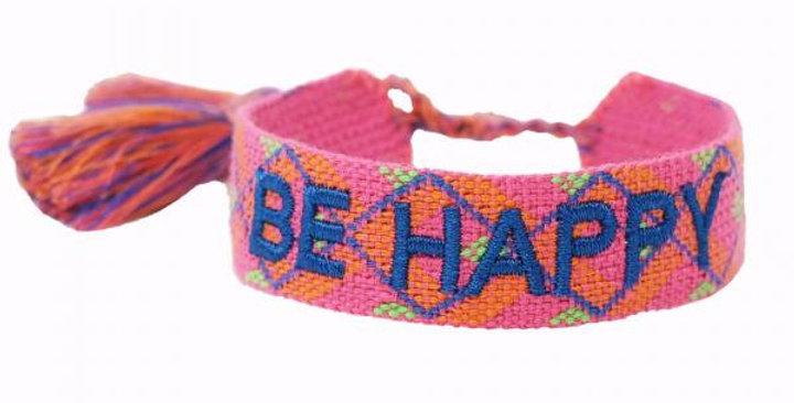 Stoff-Armband - BE HAPPY