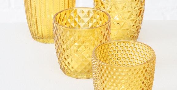 Teelicht 3er Set, gelb