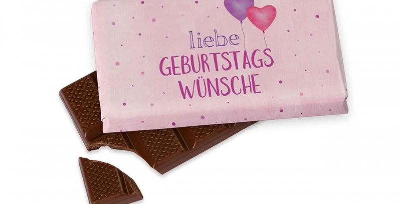 Schokolade mit Geburtstagsspruch