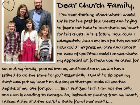 Dear Church Family,