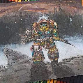 Lonely Kitbasher 40K space marine terminator watercolour illustration