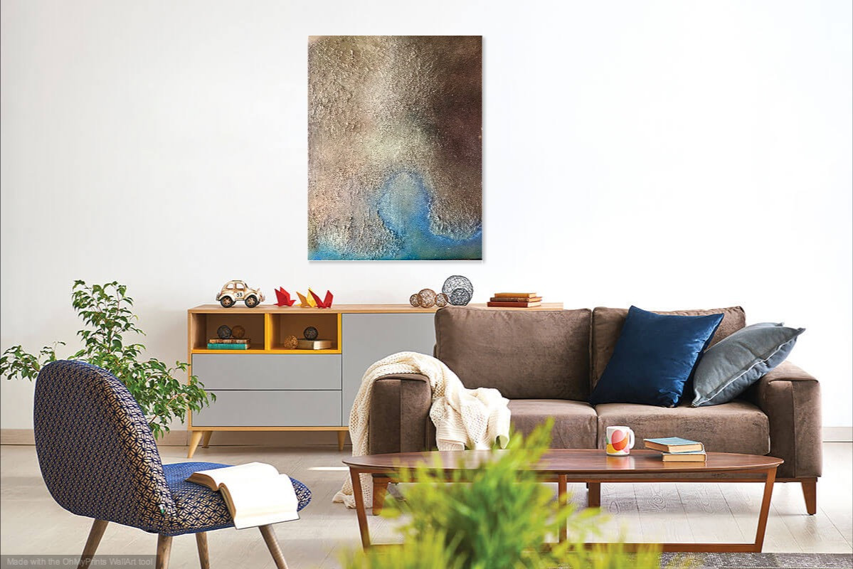 Title: Unchartered  Size: 90 x 120 x 2cm  Materials:  Grout, plaster, tile adhesive, PVA, acrylic paint on primed linen stretched canvas  Description:  Creating a moment of calm and space with a sense of lightness – the calm before the storm perhaps…