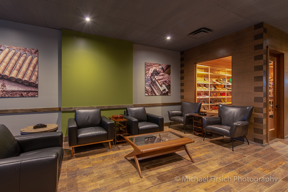 Front lounge area and view into the 36' cigar humidor.