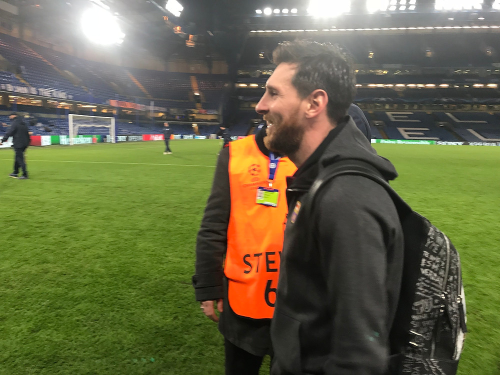 Lonel Messi at Stamford Bridge after the 1-1 draw with Chelsea at Stamford Bridge in the Champions League.  Photo by Paul Lagan
