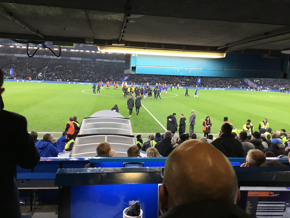 End of the sensational 2-1 victory for Blues over Bournemouth Photo: Paul Lagan