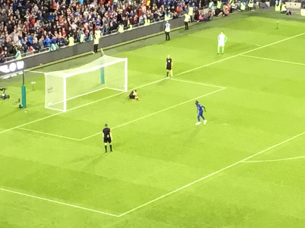 Tammy Abraham scores his shootout penalty but it was not enough for Chelsea Photo by Paul Lagan