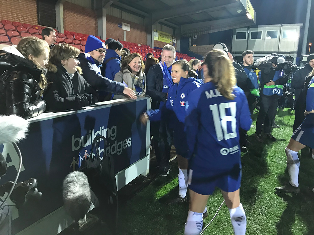 Fran Kirby post-match with supporters. Photo by Paul Lagan