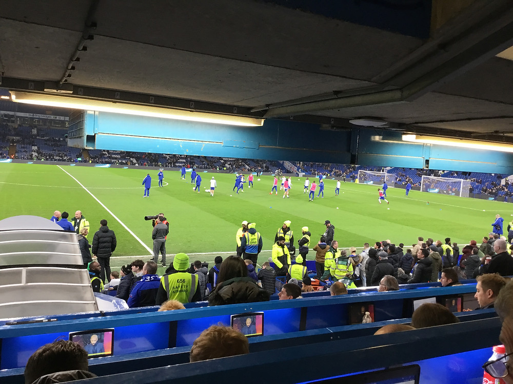 Chelsea players warm up ahead of the match. Photo Paul Lagan