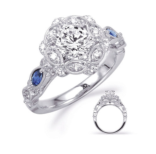 Diamond and Sapphire Floral Ring Mounting