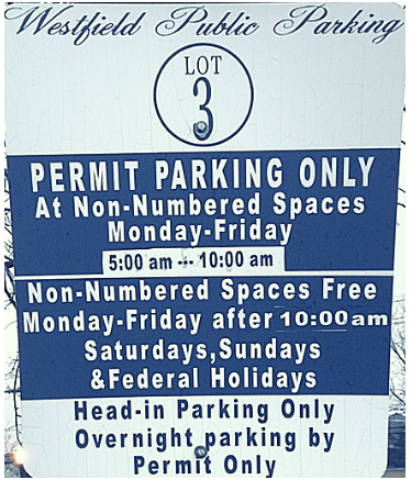 Westfield NJ Train Station Parking Sign