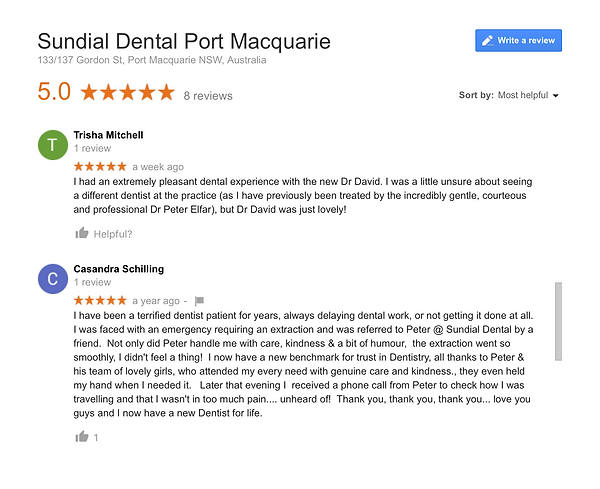 Sundial Dental patient reviews, dentist port macquarie