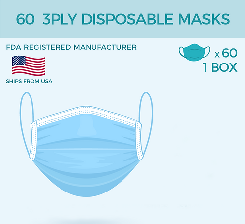 (60 PACK) 3 PLY DISPOSABLE FACE MASK