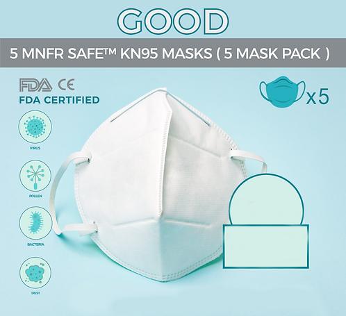 (5 PACK) MNFR SAFE - KN95 MASKS ( 5 PACK)