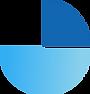 Logotipo da Fundação Josué Montello que utiliza dois tons de azul e remete a um carrinho de bebê.