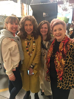 These girls are too much fun! On the set of 'Grace & Frankie'