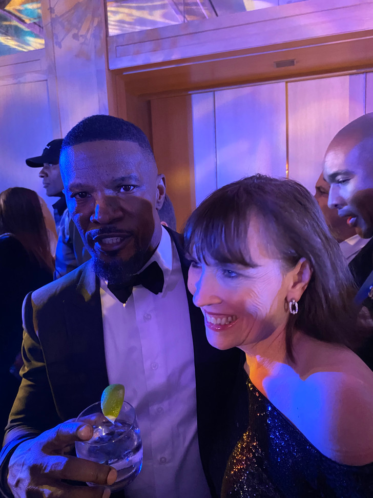 Celebrating with Jamie Foxx and friends.