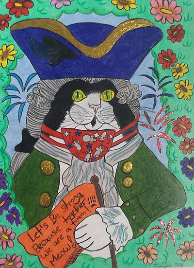 """""""Colonial Cat Holding a Flag with a Powerful Message on It"""" by Jennifer Quinones"""