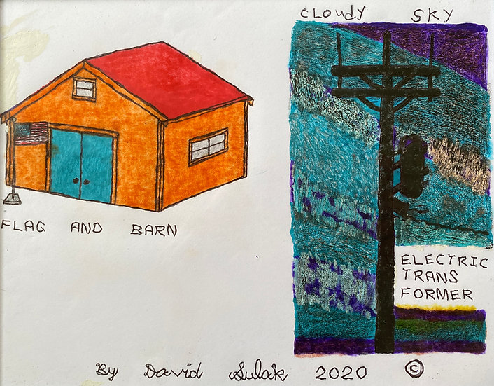 """Flag and Barn, Cloudy Sky, & Electric Transformer"" by David Sulak Original Art"